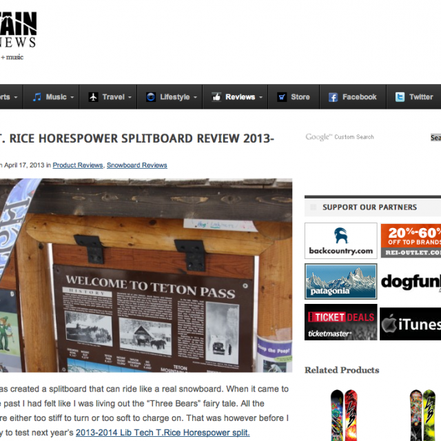 Image From Mountain Weekly News – 13/14 T.Rice Pro Split Review