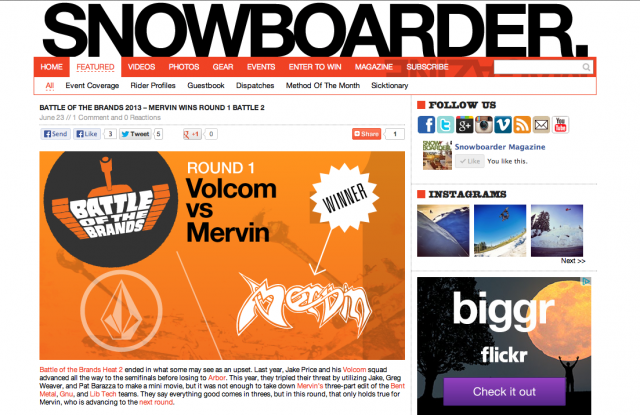 Battle of the Brands, Snowboarder Magazine, Superpark