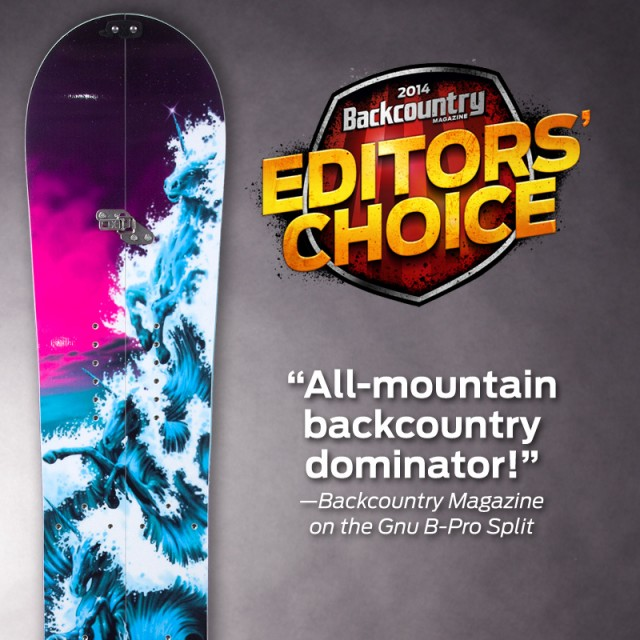 Gnu B-Pro Split chosen as an Editors' Choice selection for Backcountry Magazine!